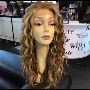 Long blonde curly wig sale Freepart Lacefront Wig